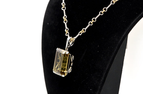 14k White & Yellow Gold Smokey Quartz Large Enhancer Pendant Necklace - 17.5 in.