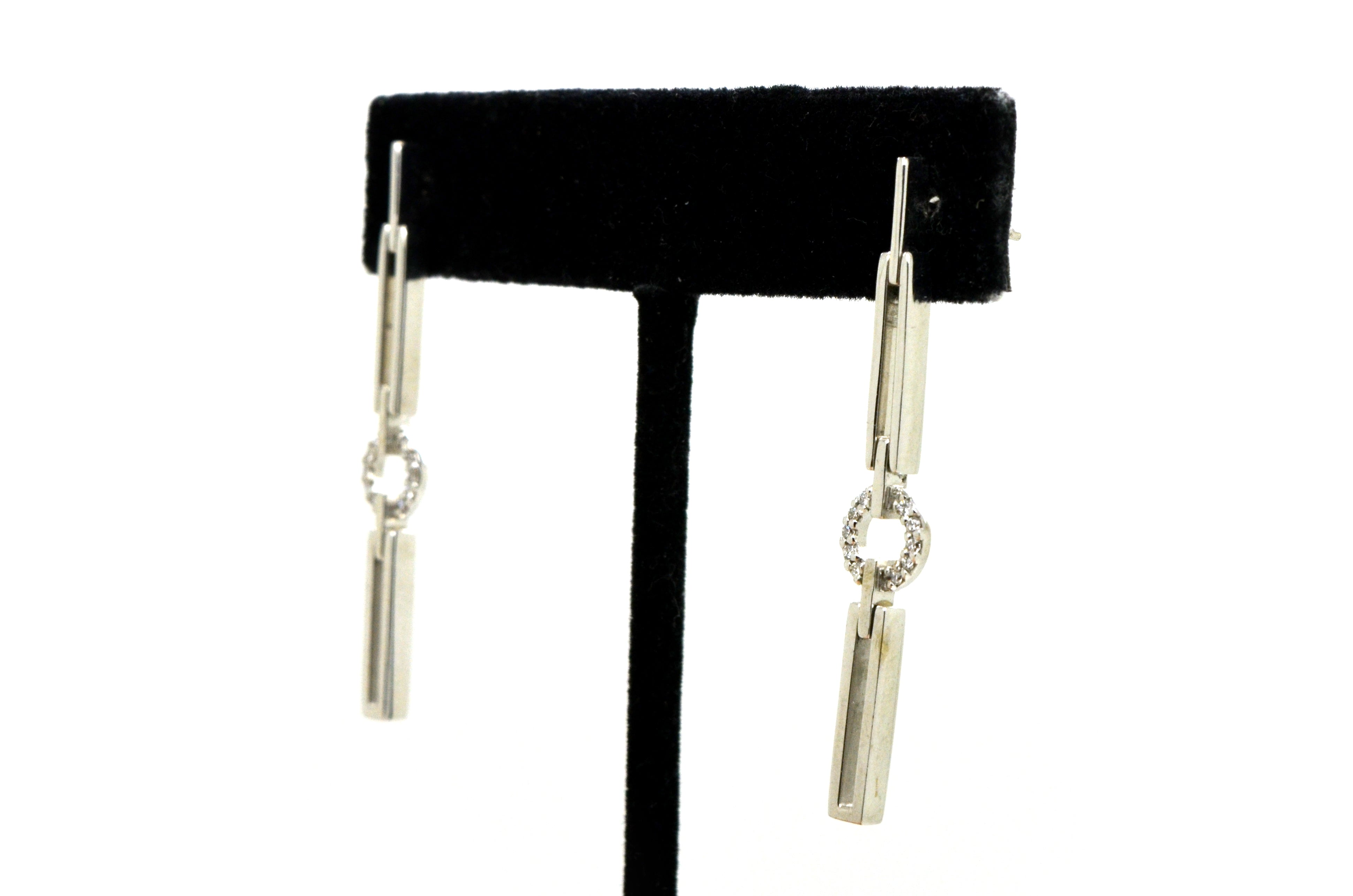 14k White Gold Diamond Dangle Drop Earrings - 45 mm drop - .25 ct. total