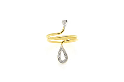 14k Yellow & White Gold Diamond Wrap-Around Oblong Ring - .10 ct total - Size 5