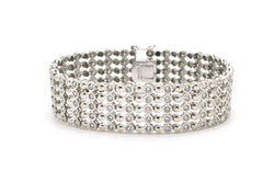 18k White Gold Diamond Thick 18.4 mm Statement Bracelet - 5.00 ct. total - 7 in.
