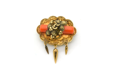 Antique Victorian 14k Yellow Gold Coral Pin Brooch - Engraving & Floral Details