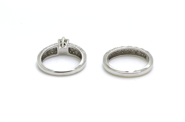 14k White Gold Diamond Engagement Wedding Ring Set - .75 ct. total - Size 6.5