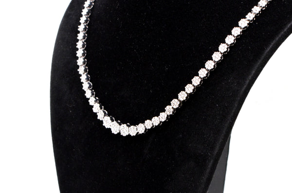 14k White Gold Diamond Cluster Tennis Riviera Necklace - 2.00 ct. total - 17 in.