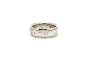 14k White Gold 7 mm Bezel Round Diamond Band Ring - .50 ct. total - Size 7