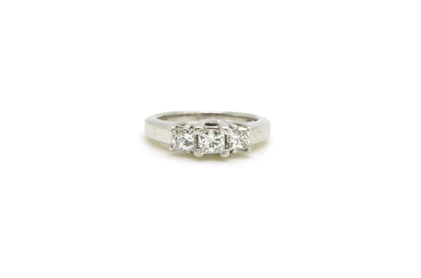 14k White Gold 3 Stone Princess Diamond Engagement Ring - .75 ct. tw - Size 5.5
