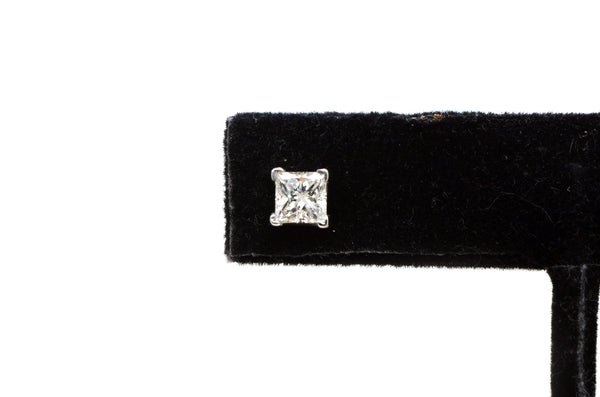 14k White Gold Princess Diamond Stud Earrings - 1.00 ct. total - I / SI2