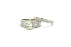 14k White Gold Pear Diamond Engagement Wedding Ring Set - 4.45 ct. tw - Size 8.5