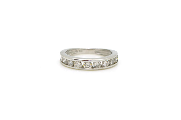 14k White Gold Channel-Set Round Diamond Band Ring - .50 ct. total - Size 5.25