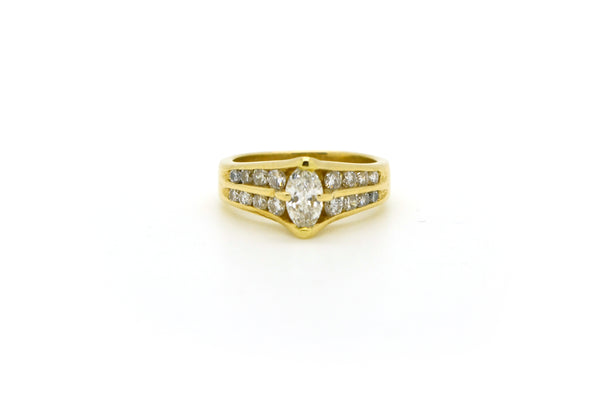 14k Yellow Gold Marquise Diamond Engagement Promise Ring - .90 ct. tw - Size 5