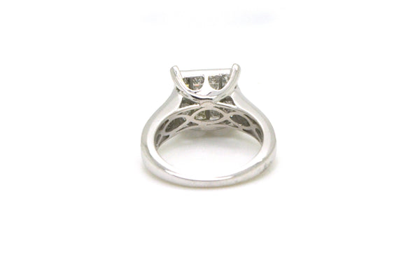 14k White Gold Invisable-Set Diamond Cluster Cocktail Ring - 2.00 ct tw - Size 7
