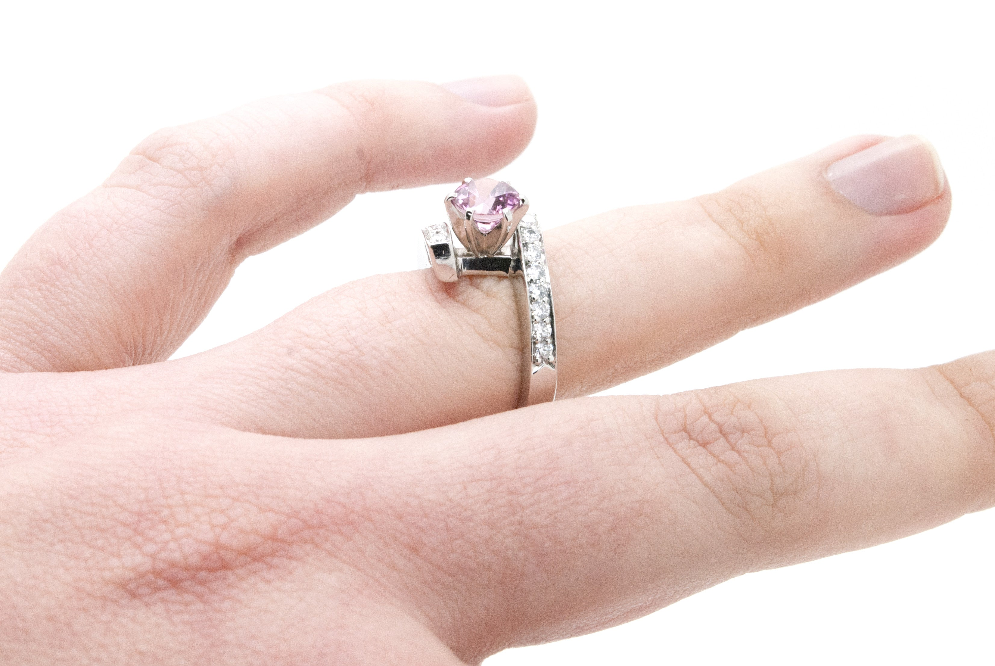 Platinum Diamond and Pink Sapphire Bypass Ring - 1.20 ct. total ...