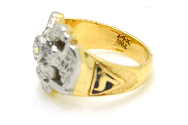 Vintage 14k Yellow Gold & Palladium Diamond 32 Degree Masonic Ring - Size 7.5