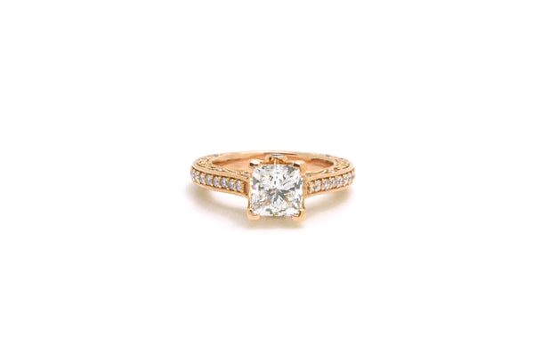 14k Rose Gold Princess Diamond Engagement Ring - 1.77 ct. total GIA - Size 3.75