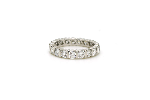 Platinum Round Diamond Bar-Set Eternity Band Ring - 2.58 ct. total - Size 6.75