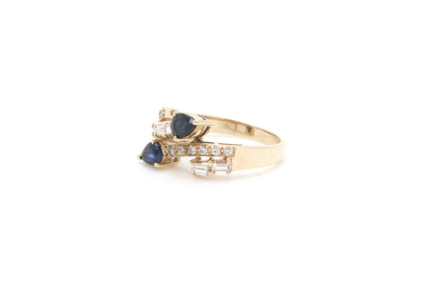 14k Yellow Gold Sapphire and Diamond Wrap Bypass Ring - .80 ct. tw - Size 6.25