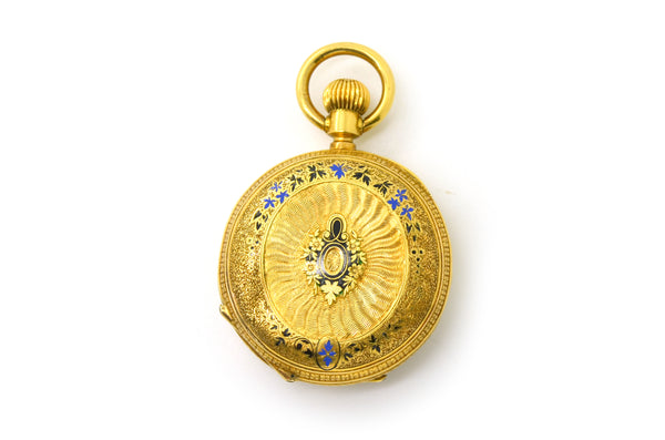 Vintage 18k Yellow Gold 16 Jewel J. Dauer Enamel & Diamond Pocket Watch #157