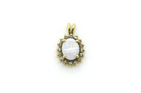 Vintage 14k Yellow Gold Oval Shaped Pendant with Opal & Diamonds - .15 ct. total