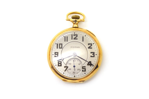 Vintage 14k Yellow Gold Illinois Co. 21 Jewel Pocket Watch - 38.8 dwt - 46 mm