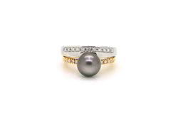 18k White & Rose Gold Black Pearl Diamond Tiered Ring - 1.00 ct. tw - Size 7