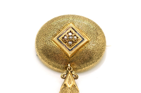 Vintage Estate Victorian 14k Yellow Gold Drop Brooch Pin with Seed Pearls