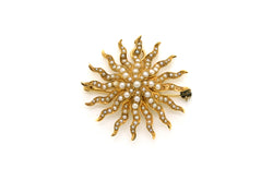 Antique Victorian 14k Yellow Gold Star Pin Brooch Pendant with Seed Pearls