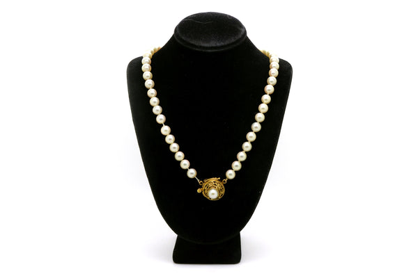 14k Yellow Gold Pearl Strand Necklace with Victorian Clasp / Pendant - 17 in.