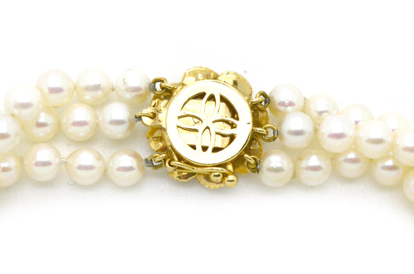 14k Yellow Gold Cultured Pearl Three Strand Bracelet with Sapphire Clasp -7.5 in