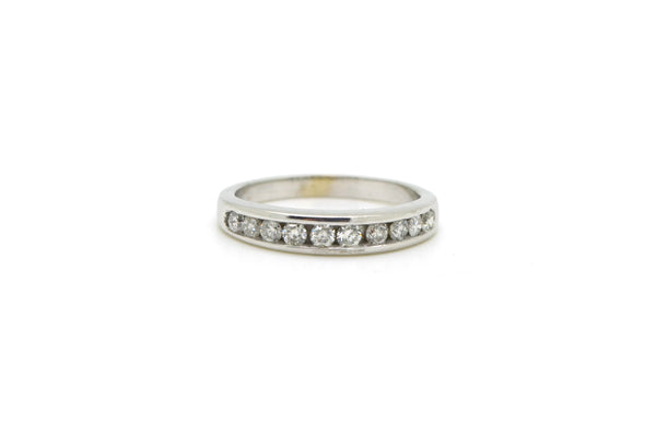 14k White Gold Channel-Set Round Diamond Band Ring - 1.00 ct. total - Size 6.25