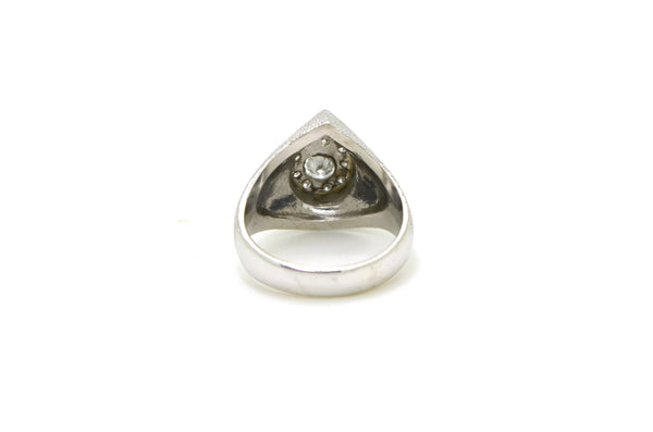 Vintage 14k White Gold Diamond Cluster Pear Signet Ring - .50 ct. total - Size 9