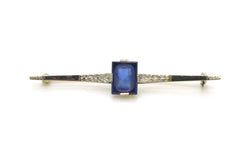 Antique Art Nouveau 18k White Gold Pin Brooch with Beautiful Sapphire Cameo