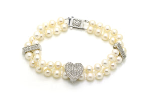 14k White Gold Double Pearl Strand Bracelet - Diamond Clasp & Enhancers - 7 in.