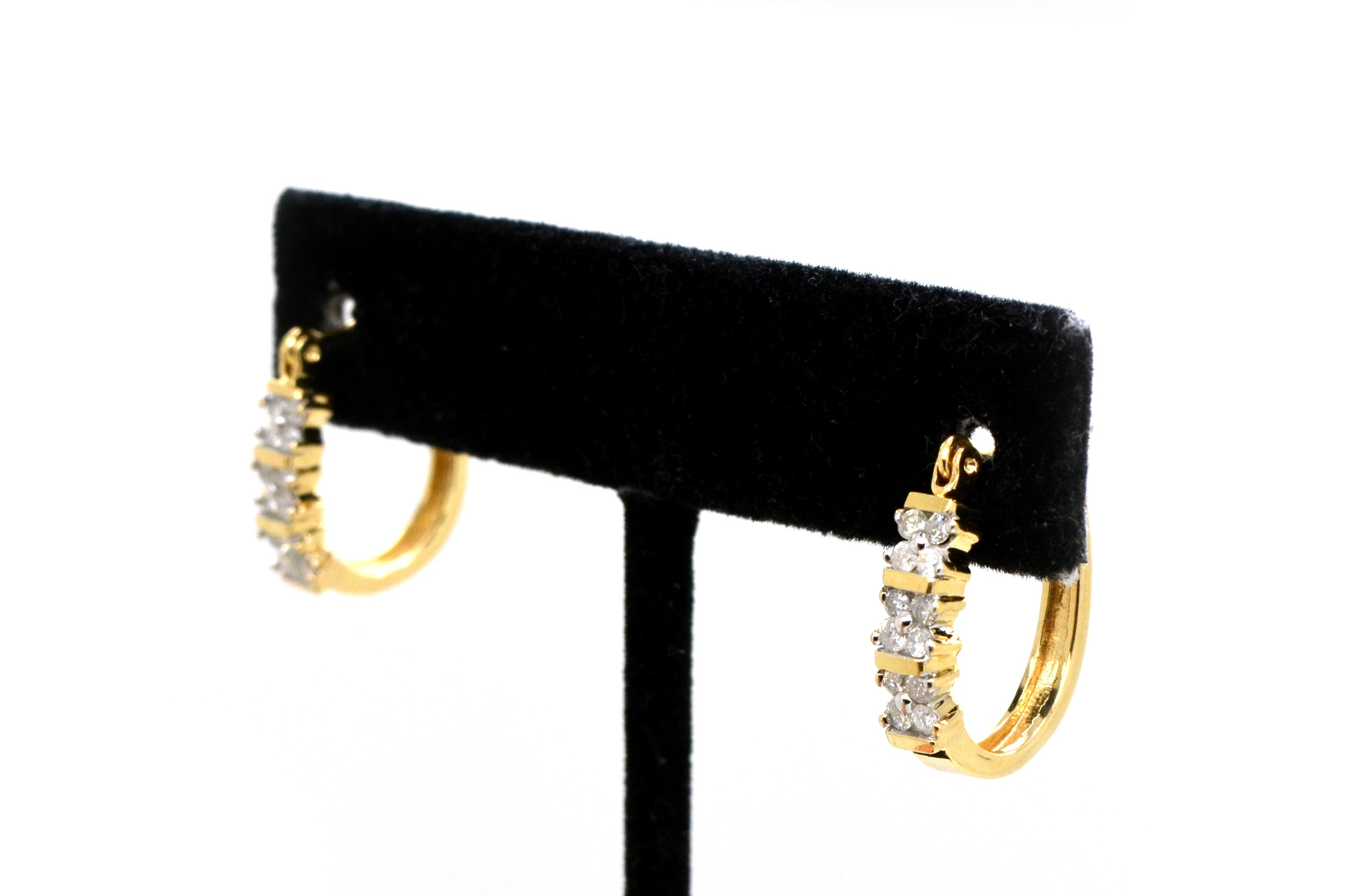 14k Yellow Gold Diamond Huggie Hoop Earrings - 18 mm Drop - .50 ct. total