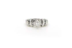 14k White Gold Marquise Diamond Promise Engagement Ring - .70 ct. tw - Size 10.5