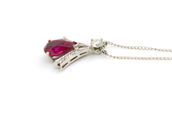 14k White Gold Synthetic Ruby & Diamond Pendant Necklace - 18 in. - 2.25 ct. tw