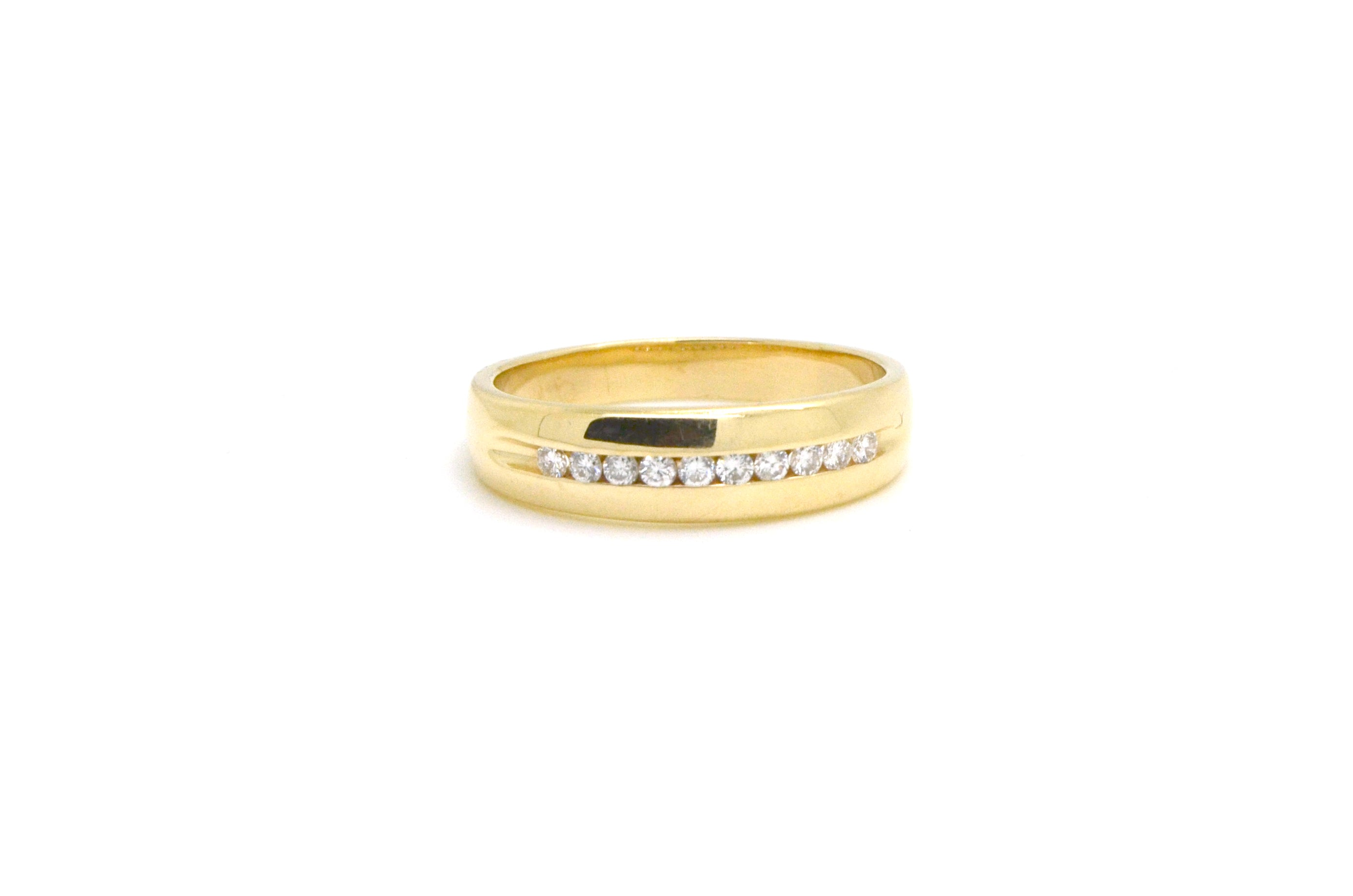 14k Yellow Gold Channel-Set Round Diamond Band Ring - .35 ct. total - Size 11