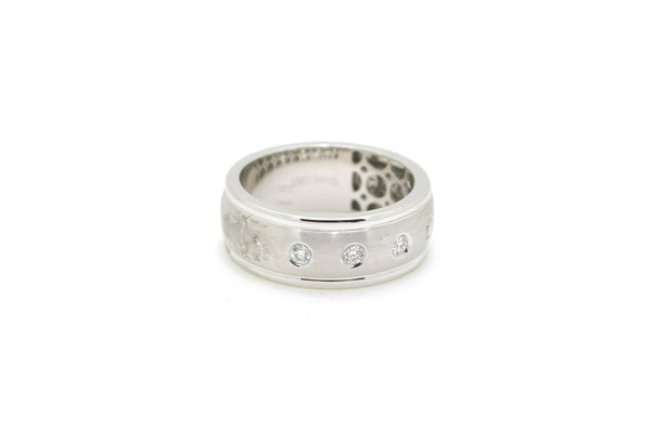 14k White Gold Bezel Round Diamond 8 mm Band Ring - .36 ct. total - Size 10