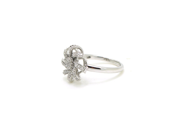 14k White Gold Diamond Flower Spiral Cocktail Ring - .40 ct. total - Size 6.5