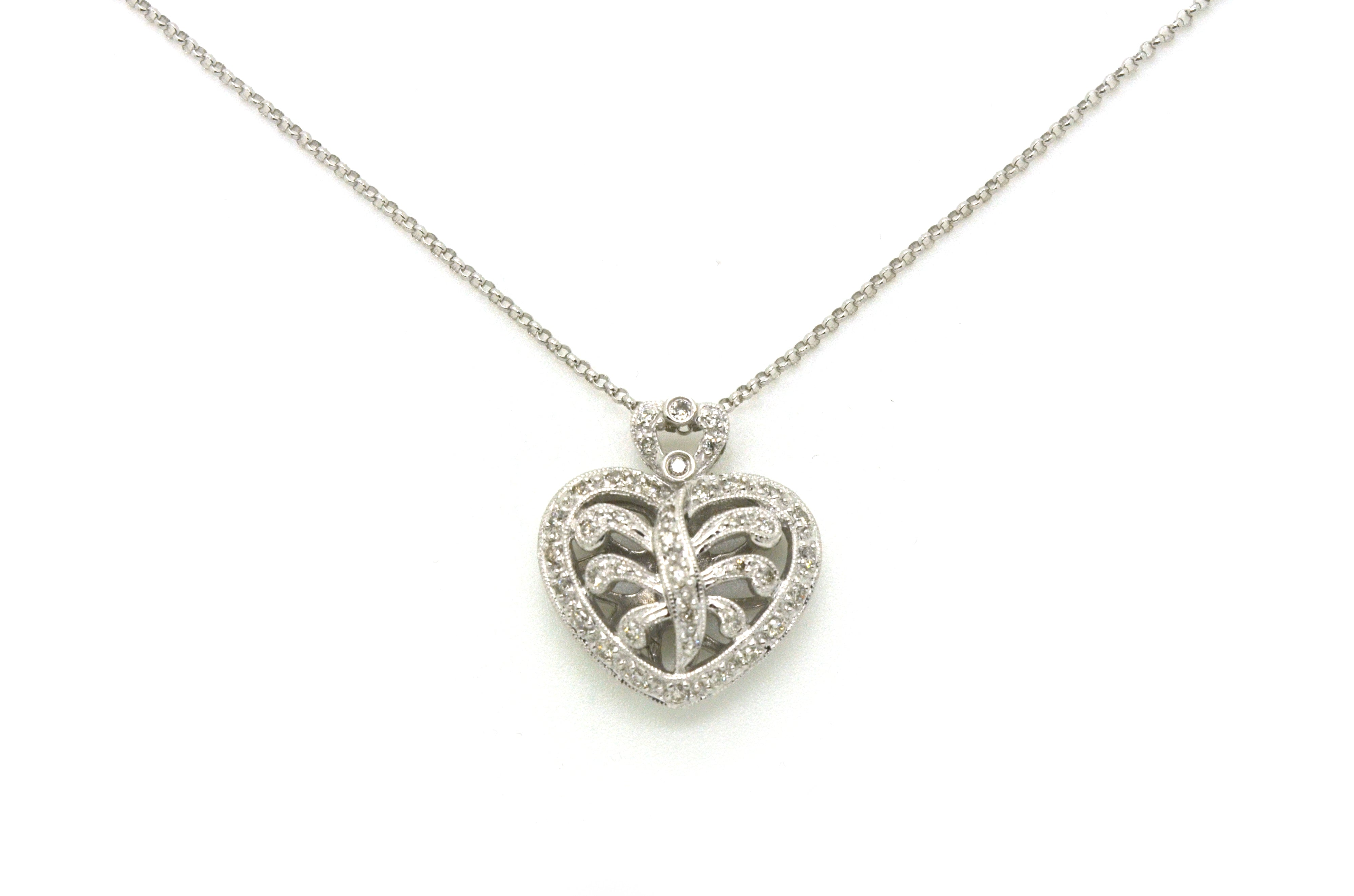 14k White Gold Diamond Filagree Heart Pendant Necklace - .35 ct. tw - 16.5 in.