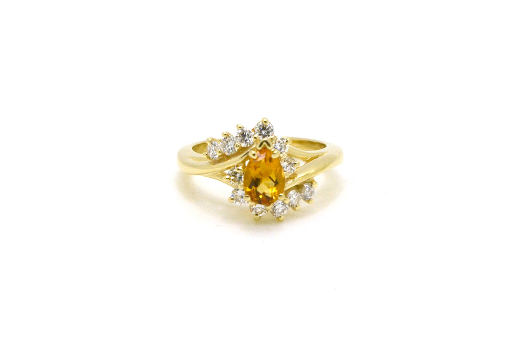 d437d6c34358e Vintage 14k Yellow Gold Pear Shaped Citrine & Diamond Cocktail Ring ...