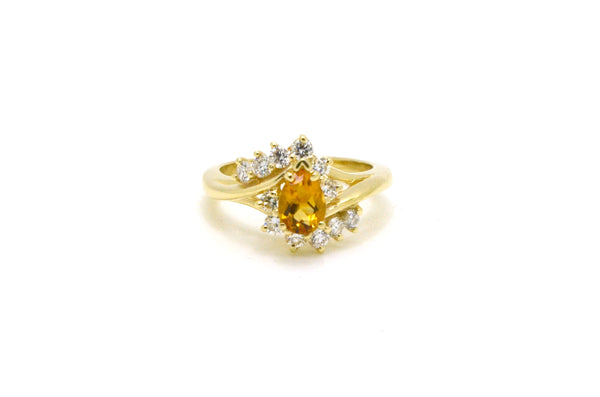 Vintage 14k Yellow Gold Pear Shaped Citrine & Diamond Cocktail Ring - Size 6
