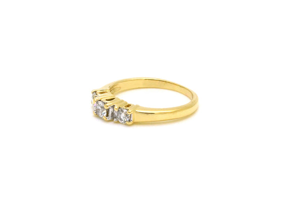 14k Yellow Gold 3-Stone Round Diamond Engagement Ring - .60 ct. total - Size 7