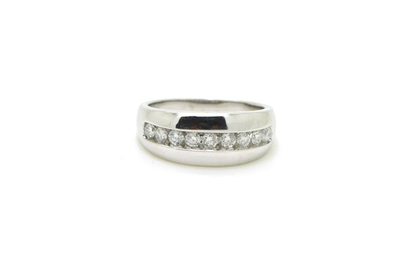 10k White Gold 9-Stone Round Diamond Channel Band Ring - .80 ct. tw - Size 10.5