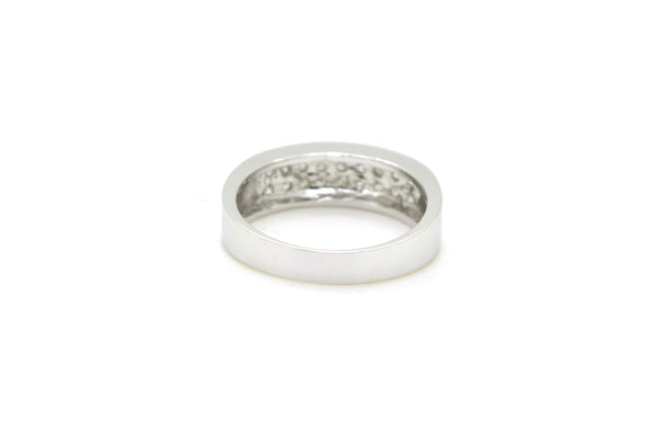 14k White Gold Double Row Round Diamond Band Ring - 1.00 ct. total - Size 10.5