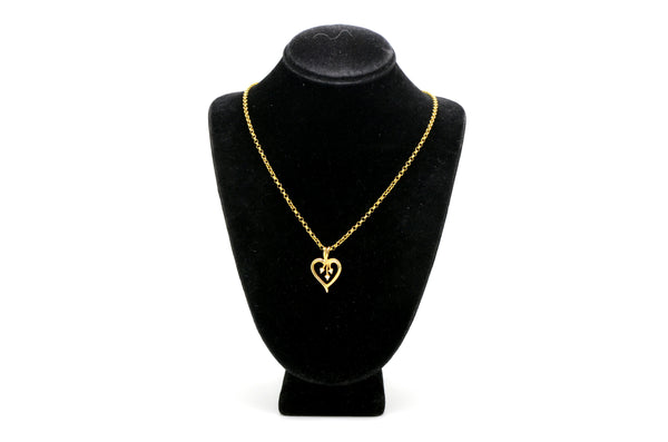 14k Yellow Gold Diamond Heart Shaped Necklace - .03 ct. total - H / SI1 - 15 in.