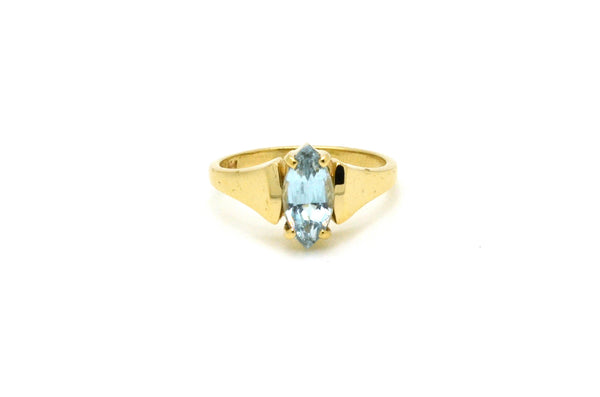 14k Yellow Gold Ring With Marquise Cut Blue Topaz Stone - .90 ct. - Size 5.5