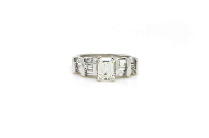 14k White Gold Emerald Cut Diamond Engagement Ring - 1.76 ct. total - Size 6.75
