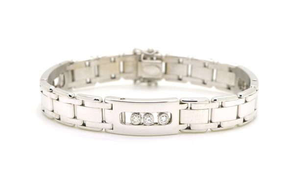 14k White Gold Moving Diamond Bezel Link Bracelet - .90 ct. total - 8 in.