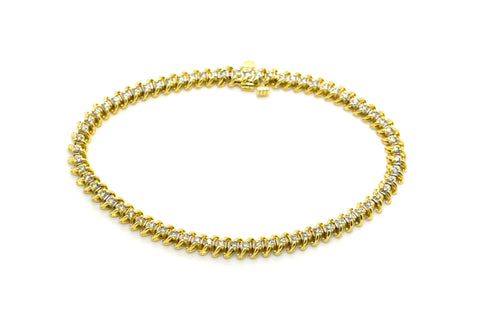 14k Yellow Gold Round Diamond Link Tennis Bracelet - 1.50 ct. total - 7.25 in.