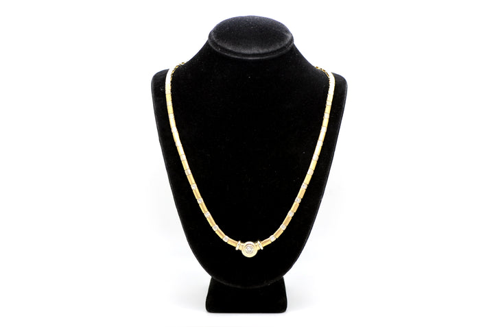 14k White & Yellow Gold Diamond Line Riviera Necklace - .75 ct. total - 17 in.