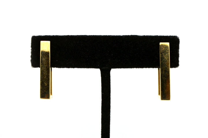 14k Yellow Gold Rectanguar Geometric Huggie Hoop Earrings - 25 mm drop - 1.8 dwt